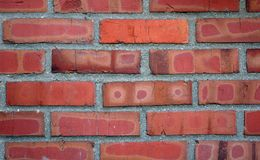 Röd tegelstenvägg arkivfoton