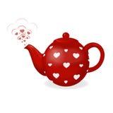 Röd tekokkärl i vit hjärta Från tekannan är utloppsröret i form av par av hjärtor Illustration för dag för valentin` s Arkivbild