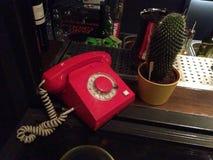 röd telefon Arkivbild