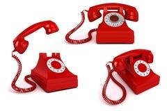 röd telefon för tappning 3d vektor illustrationer
