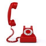 röd telefon för tappning 3d royaltyfri illustrationer