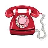 Röd telefon, gammal roterande telefon för vektor stock illustrationer