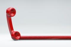 Röd telefon med kabel royaltyfri illustrationer