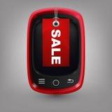 Röd telefon med labal försäljning Royaltyfria Bilder