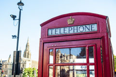 Röd telefonask, London UK Royaltyfria Foton