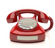 Röd telefonetikett Arkivbild