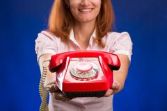 röd telefonkvinna Arkivbilder