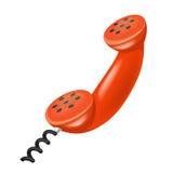 Röd telefonlur isolerat objekt på vit Royaltyfria Bilder