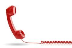 Röd telefonmottagare Royaltyfri Fotografi