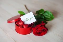 Röd tenn- ask med hjärtor Arkivfoton
