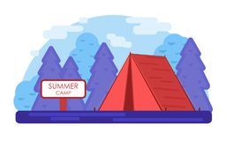 röd tent Violet Summer lägerbakgrund Geometrisk plan trendillustration för vektor royaltyfri illustrationer