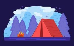 röd tent Violet Summer lägerbakgrund Geometrisk plan trendillustration för vektor stock illustrationer