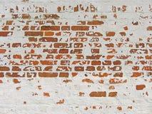 Röd, terrakotta- och vittegelstenbakgrund Gammal vägg av röda Bric Arkivfoto