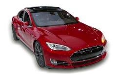 Röd Tesla elbil royaltyfri foto