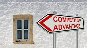 Röd text för konkurrensfördelteckensymbol - tolkning 3d Arkivfoto