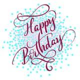 Röd text för lycklig födelsedag på på kulör cirkelbakgrund Hand dragen illustration EPS10 för kalligrafibokstävervektor stock illustrationer
