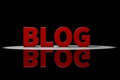 Röd text, tolkning 3D med reflexion: Blogg Arkivfoto