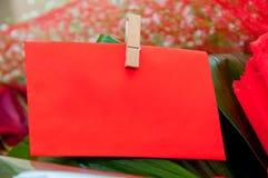 Röd tom anmärkning för text Royaltyfria Foton