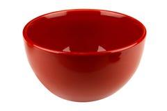 Röd tom bunke som isoleras på vit Royaltyfria Foton