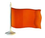 Röd tom flagga med flaggstången som vinkar i vinden Royaltyfri Foto