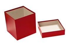 Röd tom gåvaask med locket Royaltyfri Foto
