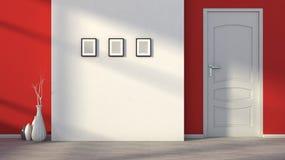 Röd tom inre med en vit dörr Royaltyfri Fotografi