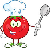 Röd tomatkock Cartoon Mascot Character som rymmer en sked royaltyfri illustrationer