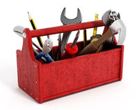 Röd toolbox mycket av handhjälpmedel Arkivfoton