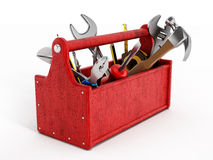Röd toolbox mycket av handhjälpmedel Royaltyfri Bild