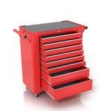 Röd Toolbox på hjul med öppna enheter arkivfoto