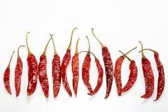 Röd torkad peppar för chili Arkivbild