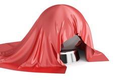 Röd torkduk dolda Crystal Ball, tolkning 3D Royaltyfri Fotografi
