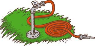 Röd trädgårds- slang på ett grönt gräs royaltyfri illustrationer