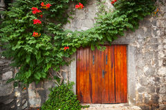 Röd träport i gammal stenvägg Arkivfoto