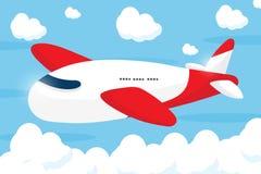 Röd trafikflygplantecknad filmdesign Arkivbild
