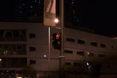 Röd trafikljus på natten, för gångare på gatan - varnande tecken att inte korsa vägen royaltyfri bild