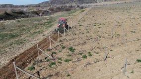 Röd traktor att odla jord i vingårdmorgonen på en solig dag stock video