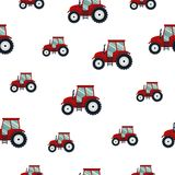 Röd traktor för sömlös modell på vit bakgrund Jordbruks- transport för lantgård i plan stil - vektorillustration Arkivbilder