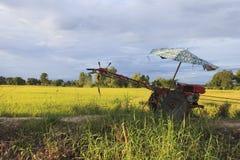 Röd traktor nära risfält Royaltyfri Foto
