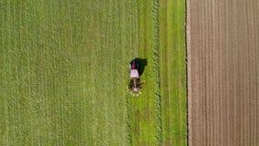 Röd traktor som windrowing hö, överkant ner flyg- sikt arkivfilmer