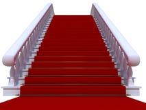 röd trappuppgångwhite för matta Arkivbild