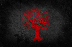 Röd Tree på den svart betongväggen Royaltyfri Bild
