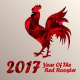 Röd tupp som symbol av 2017 Arkivfoto