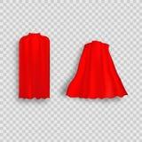 Röd udde för Superhero i olik positions-, framdel-, sido- och baksidasikt på vit bakgrund stock illustrationer