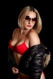 röd underkläderkvinna Arkivbild