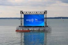Röd Ungern 2017 för FINA Budapest World Championships Balatonfà ¼ Arkivfoto