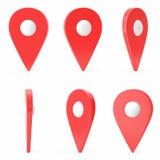 Röd uppsättningöversiktspekare på vit bakgrund Ralistic översiktspekare, GPS lägesymbol, tredimensionella symboler, 3D Royaltyfri Fotografi