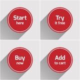Röd uppsättning för knappar för rundalägenhetrengöringsduk Fotografering för Bildbyråer