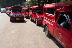 Röd uppsamling på kullen i Chiang Mai, Thailand royaltyfri bild