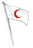 röd våg för halvmånformigflagga Royaltyfri Foto